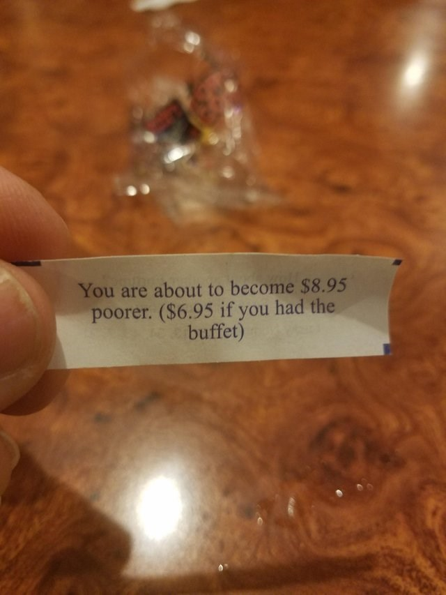 literal joke - Text - You are about to become $8.95 poorer. ($6.95 if you had the buffet)
