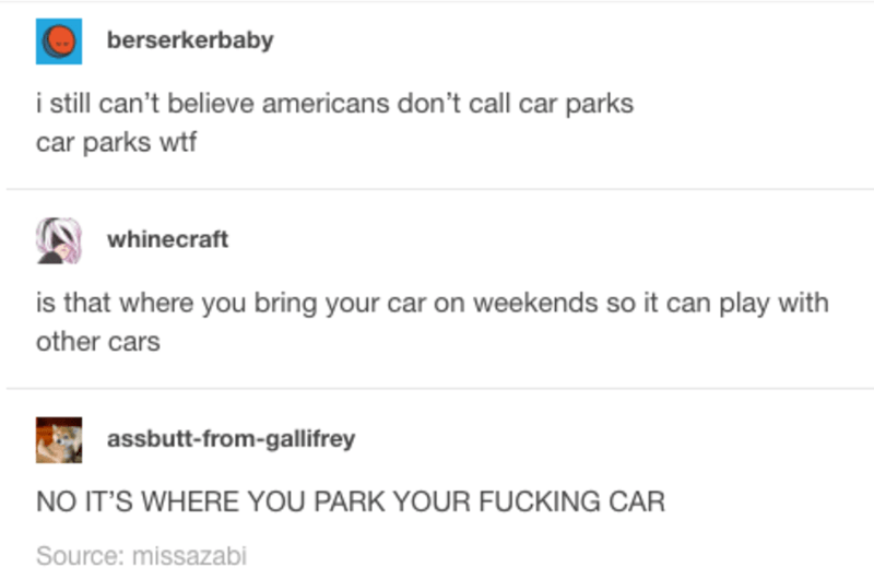 Text - berserkerbaby i still can't believe americans don't call car parks car parks wtf whine craft is that where you bring your car on weekends so it can play with other cars assbutt-from-gallifrey NO IT'S WHERE YOU PARK YOUR FUCKING CAR Source: missazabi
