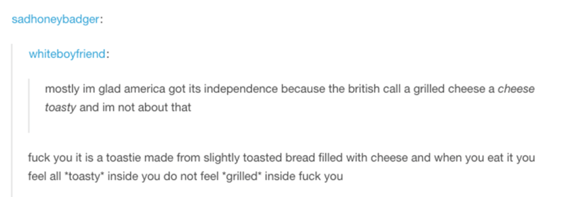 """Text - sadhoneybadger: whiteboyfriend: mostly im glad america got its independence because the british call a grilled cheese a cheese toasty and im not about that fuck you it is a toastie made from slightly toasted bread filled with cheese and when you eat it you feel all *toasty inside you do not feel """"grilled* inside fuck you"""