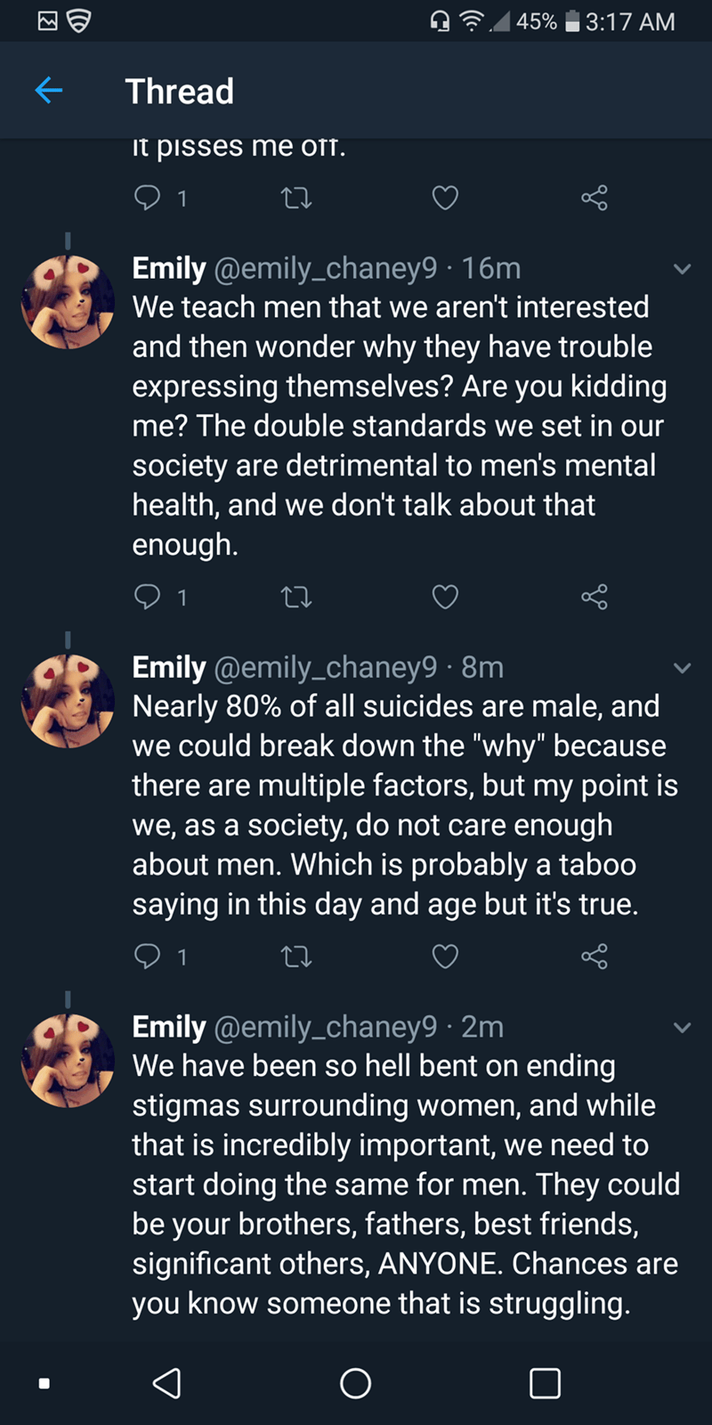 three twitter posts about woman thinking men should be able to like whatever they want to like