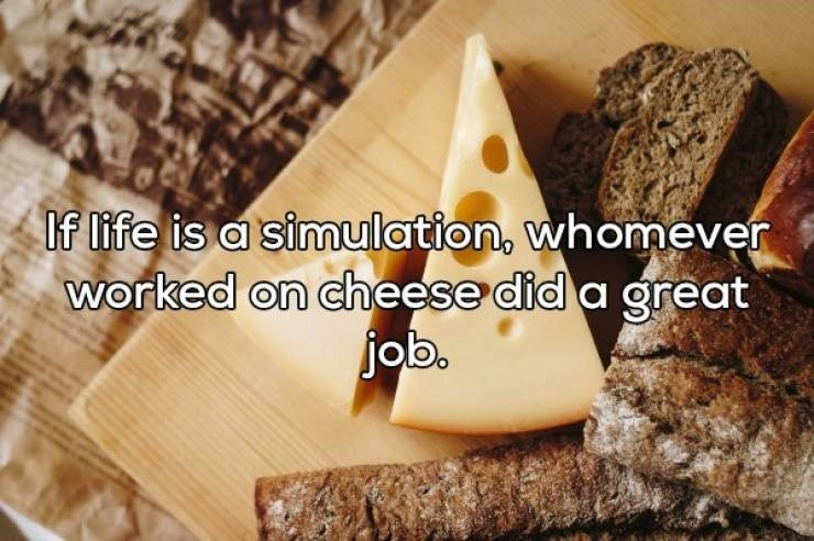 Food - If life is a simulation, whomever worked on cheese did a great job.