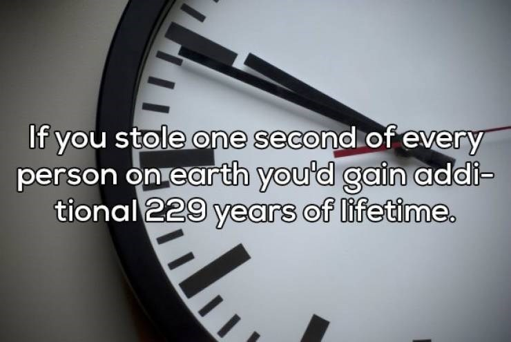 Font - If you stole one second of every person on earth you'd gain addi- tional 229 years of lifetime.