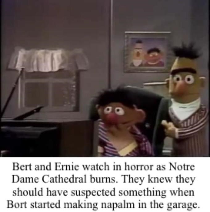meme notre dame - Cartoon - 190 Bert and Ernie watch in horror as Notre Dame Cathedral burns. They knew they should have suspected something when Bort started making napalm in the garage