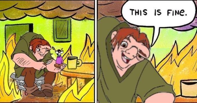 meme notre dame - Cartoon - THIS IS FINe