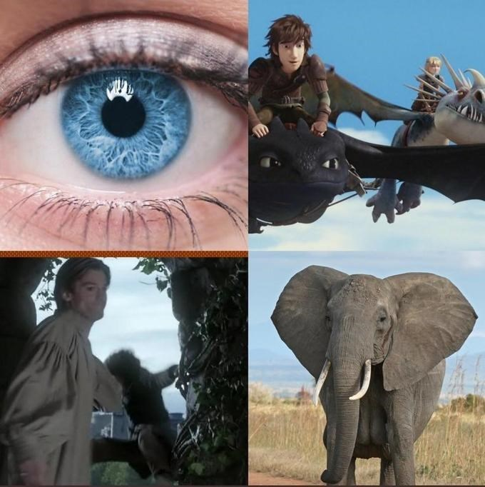 GoT meme about Cersei's elephants with a still from How to Train Your Dragon and Jaime pushing Bran out the window