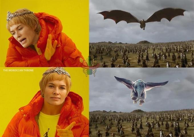 GoT meme with Cersei drakeposting