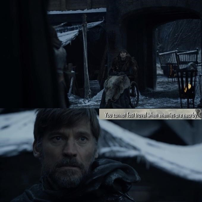 GoT meme about Jaime arriving in Winterfell and seeing Bran alive and awake