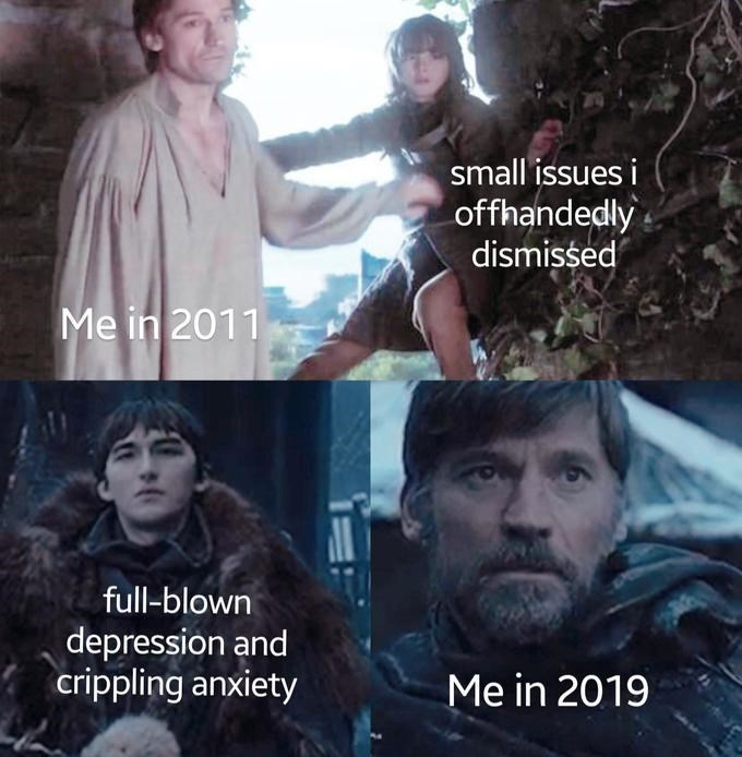 GoT meme with Bran representing ignored mental problems that develop into serious issues