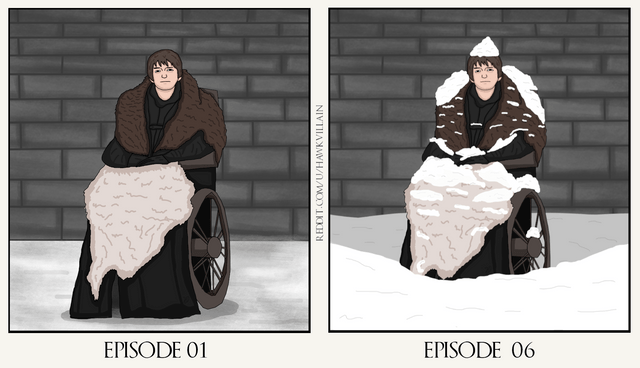 GoT meme with an illustration of Bran getting buried by snow after staying in one place and staring for too long