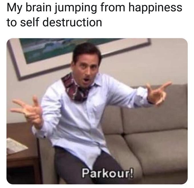my brain the office michael scott parkour meme