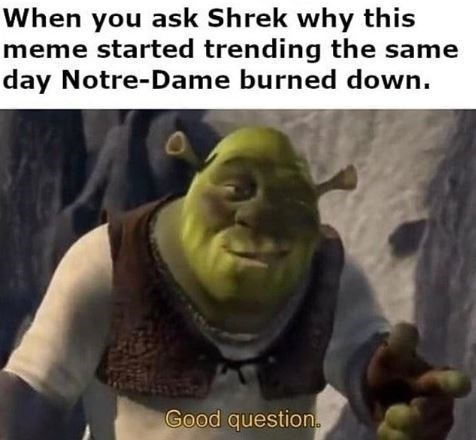 """Caption that reads, """"When you ask Shrek why this meme started trending the same day Notre Dame burned down"""" above a still of Shrek saying, """"Good question"""""""
