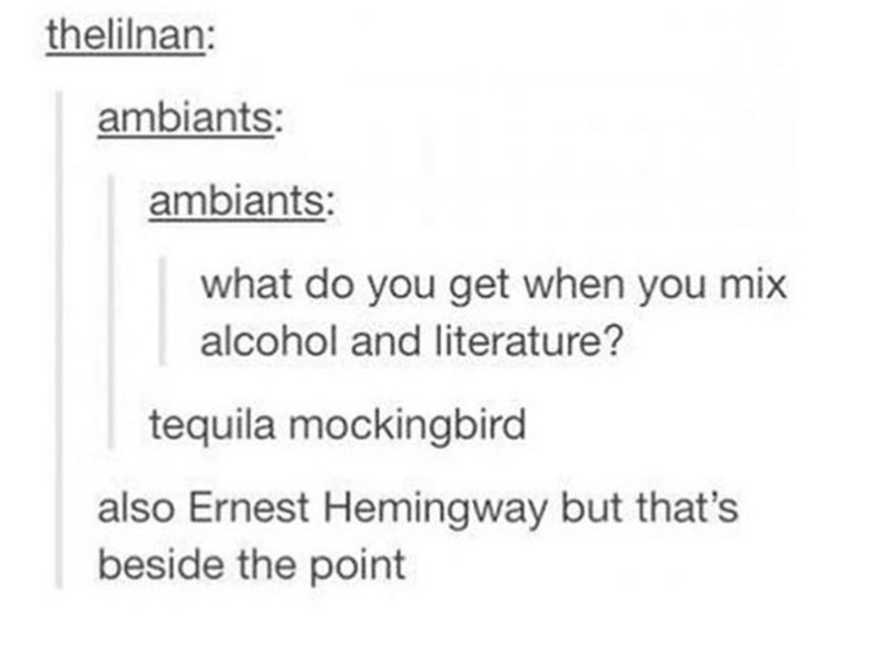 Text - thelilnan: ambiants: ambiants: what do you get when you mix alcohol and literature? tequila mockingbird also Ernest Hemingway but that's beside the point
