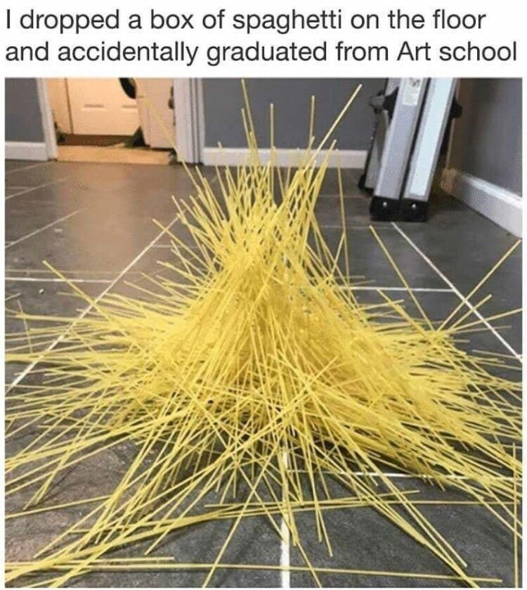 Yellow - I dropped a box of spaghetti on the floor and accidentally graduated from Art school