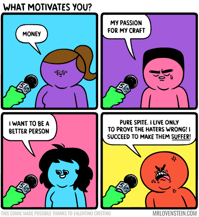Cartoon - WHAT MOTIVATES YOU? MY PASSION FOR MY CRAFT MONEY 5k 5A PURE SPITE. I LIVE ONLY TO PROVE THE HATERS WRONG! I I WANT TO BE A BETTER PERSON SUCCEED TO MAKE THEM SUFFER! 5k MRLOVENSTEIN.COM THIS COMIC MADE POSSIBLE THANKS TO VALENTINO CRISTINO Ju