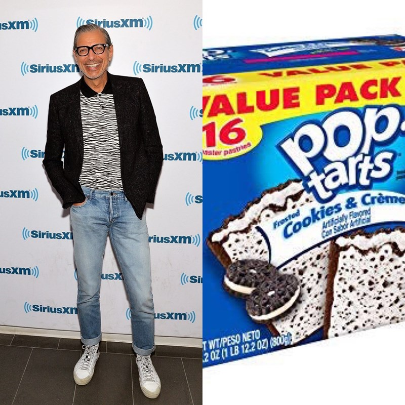 Pic of Jeff Goldblum wearing a black blazer over a black-and-white shirt next to a pic of a box of cookies and creme Pop-Tarts