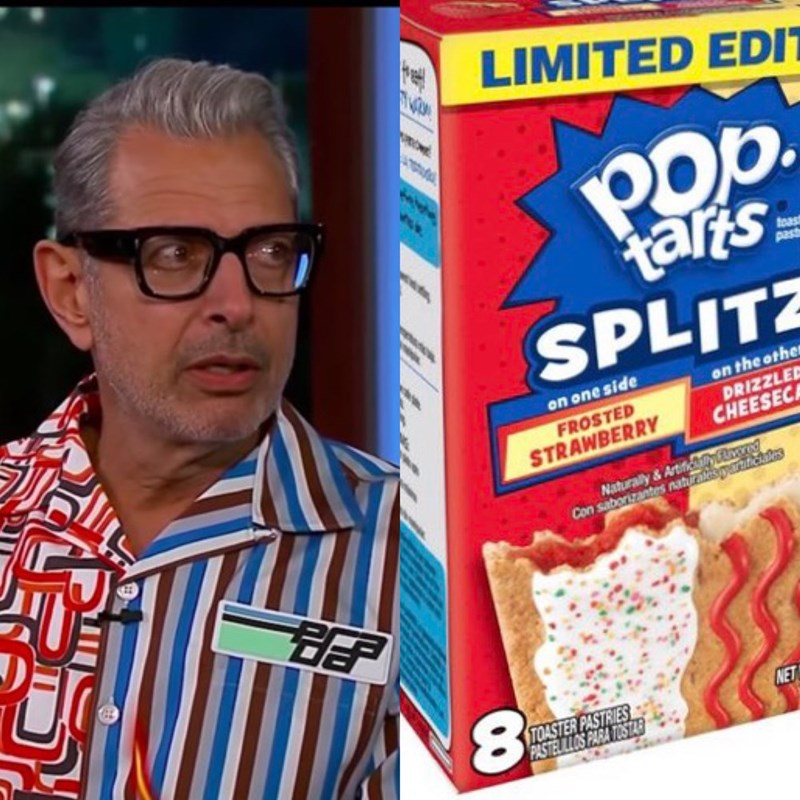 Jeff Goldblum as pop tarts - Breakfast cereal - LIMITED EDT Pop. talts SPLITZ teas past on the othe DRIZZLE CHEESEC on one side FROSTED STRAWBERRY Naturaly&Artific d Con saborizantes naturatespaat.cles 8 NET TOASTER PASTRIES PASTELILLOS PARA TOSTAR