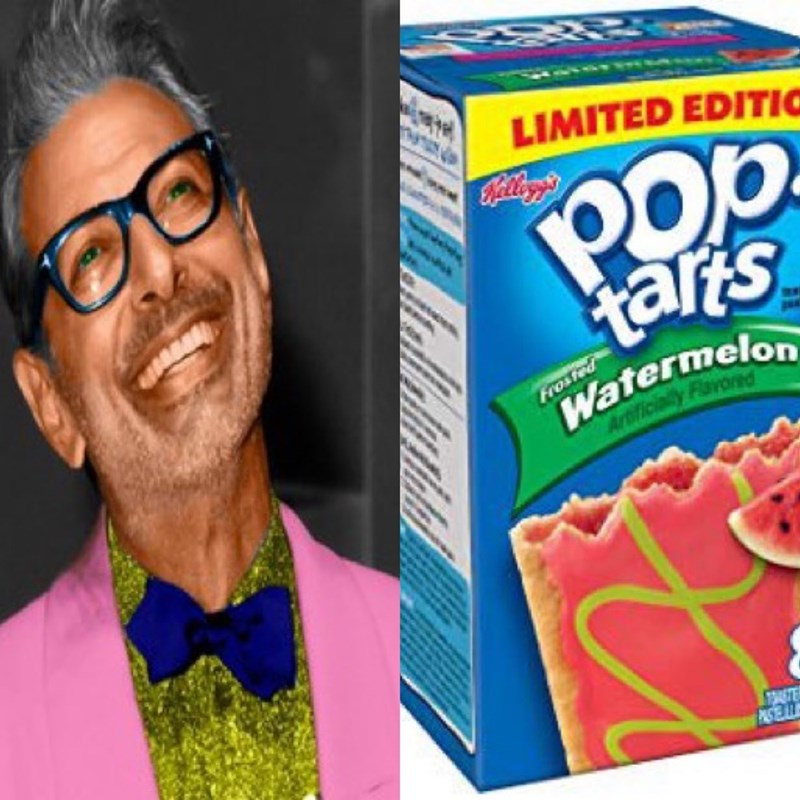 Pic of Jeff Goldblum wearing a pink blazer over a lime-green shirt next to a pic of a box of watermelon Pop-Tarts