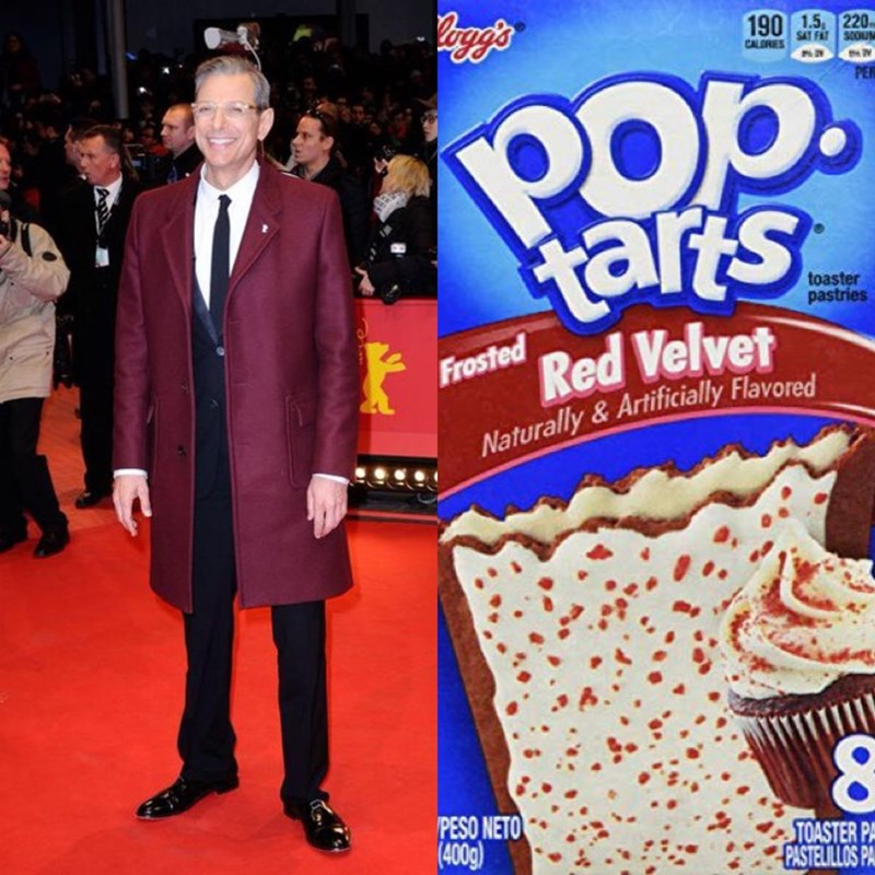 Jeff Goldblum as pop tarts - Snack - 190 1.5 220 CALORES FAT SOOU op PE arts Red Velvet toaster pastries Frosted Naturally & Artificially Flavored PESO NETO (4009) TOASTER PA PASTELILLOS PA