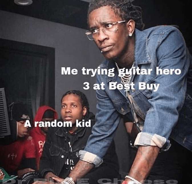 Funny memes, best buy, guitar hero, video games.