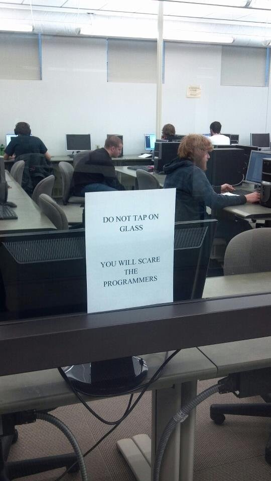 """Pic of people coding in a room with a sign on the door that reads, """"Do not tap on glass, you will scare the programmers"""""""