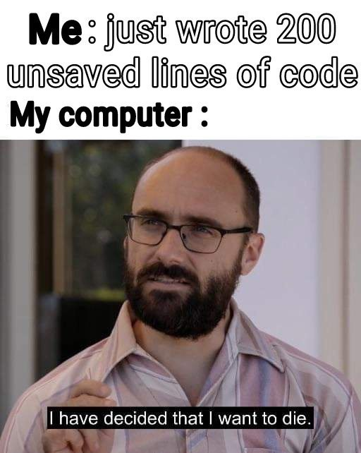 Hair - Me: just wrote 200 unsaved lines of code My computer I have decided that I want to die.
