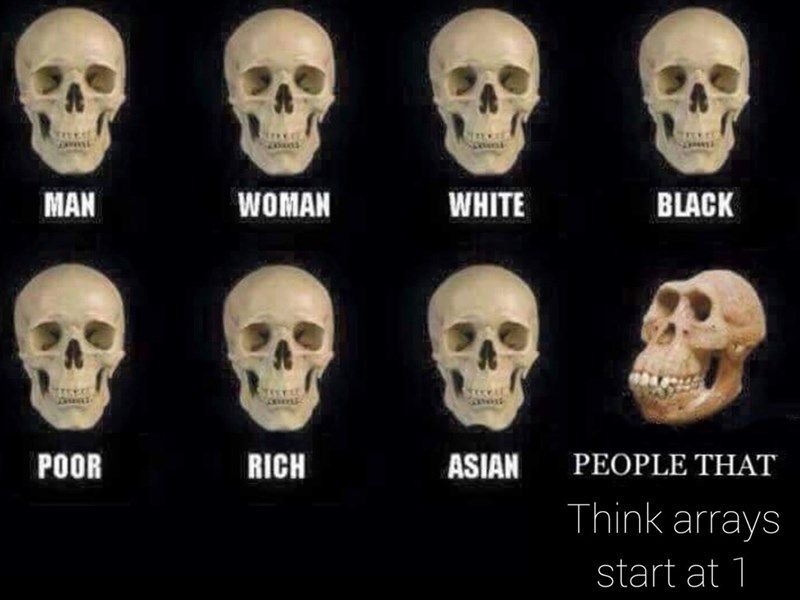 Bone - MAN WHITE WOMAN BLACK RICH ASIAN PEOPLE THAT POOR Think arrays start at 1