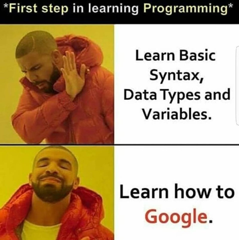 Text - *First step in learning Programming* Learn Basic Syntax, Data Types and Variables Learn how to Google.