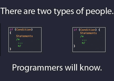 Text - There are two types of people. if (Condition) if (Condition) Statements Statements /* /* / Programmers will know.