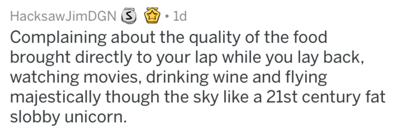 Text - HacksawJimDGN 1d Complaining about the quality of the food brought directly to your lap while you lay back, watching movies, drinking wine and flying majestically though the sky like a 21st century fat slobby unicorn.