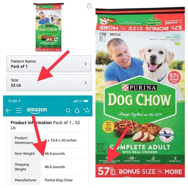 Advertising - aOW NO azis soNog W naYARTdWO2 MOHD 0O0 DOG CHOW 57 lb. BONUS SIZE 7MORE I make DOG CHOW BRYAN C. QUALITY ASSURANCE DA COMPLETE ADULT 57h BONUS SIZE SMORE Pattern Name: > Pack of 1 57 b Size: BONUS SIZE 52 Lb PURINA DOG CHOW 11:20 .l LTE amazon Aloage Crafted in the USA Product inf rmation Pack of 1,52 NEW LOOK Lb GREAT TASTE AMERICAH RASED Product 6x 19.8 x 20 inches oces Dimensions NET WT 57 LB (25.9 kg) C MPLETE ADULT 46.6 pounds WITH REAL CHICKEN Item Weight 23. waLYGESTILE soo