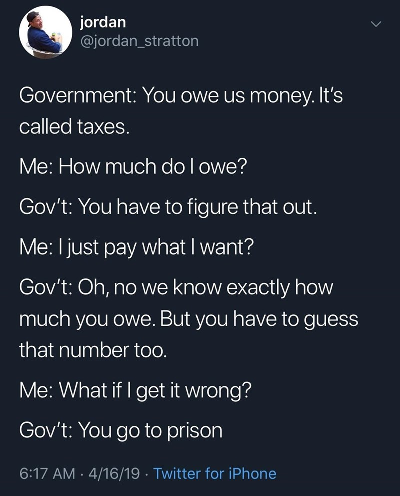 Tweet exemplifying the absurdity of how taxes work in America