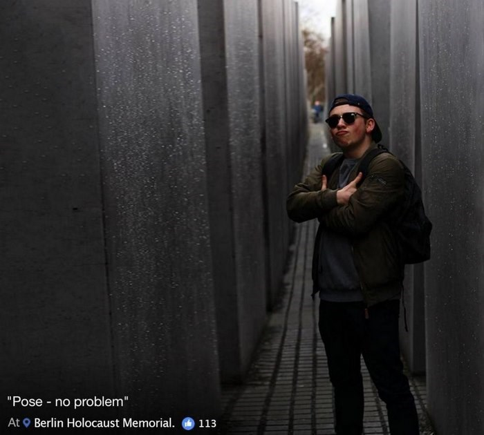 "Standing - ""Pose - no problem"" Berlin Holocaust Memorial. At 113"