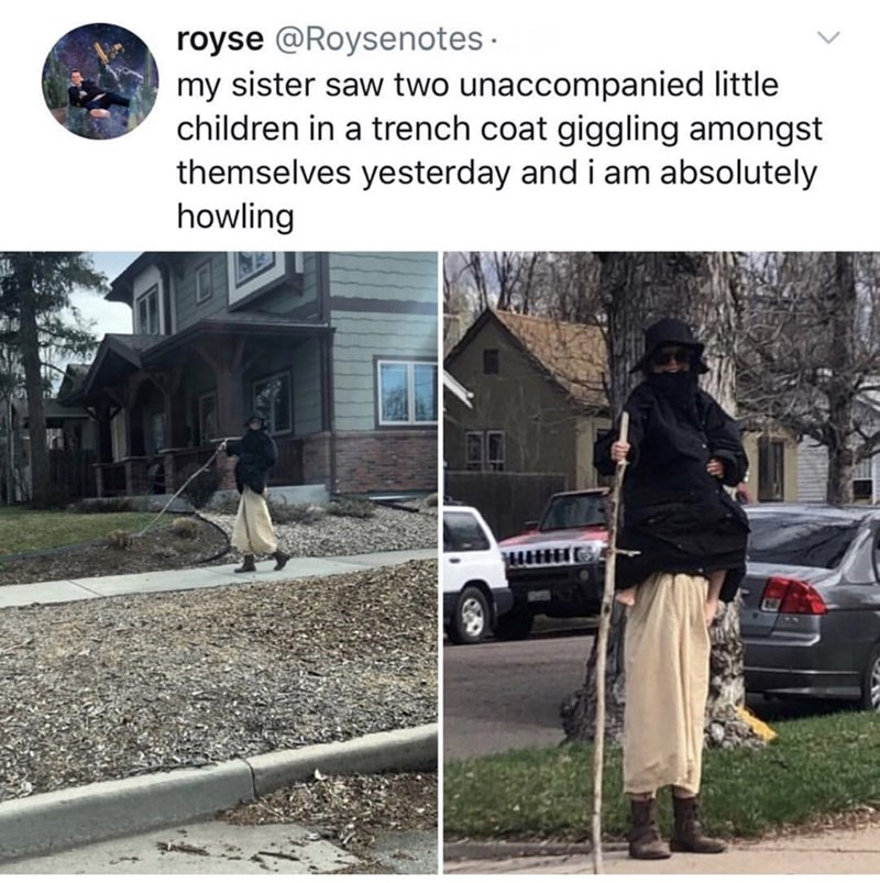 Tree - royse @Roysenotes my sister saw two unaccompanied little children in a trench coat giggling amongst themselves yesterday and i am absolutely howling