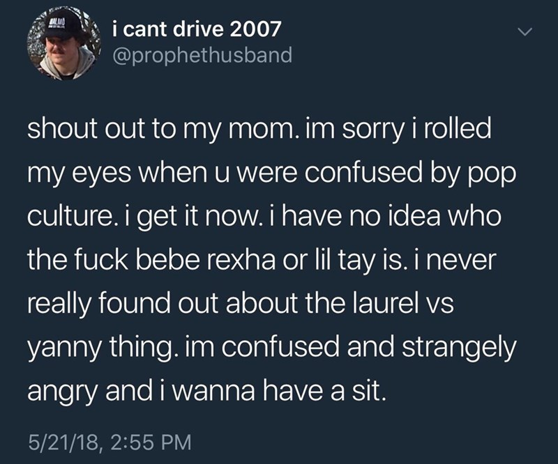 Text - MALIA i cant drive 2007 @prophethusband shout out to my mom. im sorry i rolled my eyes when u were confused by pop culture. i get it now. i have no idea who the fuck bebe rexha or lil tay is. i never really found out about the laurel vs yanny thing. im confused and strangely angry and i wanna have a sit. 5/21/18, 2:55 PM