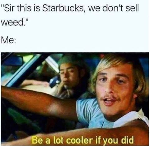 "Caption that reads, ""'Sir this is Starbucks, we don't sell weed; Me: ..."" above a pic of Matthew Mcconaughey in 'Dazed and Confused' saying, ""Be a lot cooler if you did"""