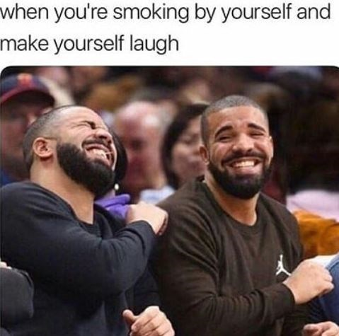"Caption that reads, ""When you're smoking by yourself and make yourself laugh"" above a photoshopped pic of Drake laughing with himself"