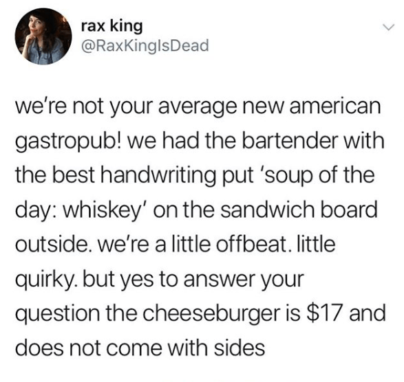 Funny tweet about gastropubs.
