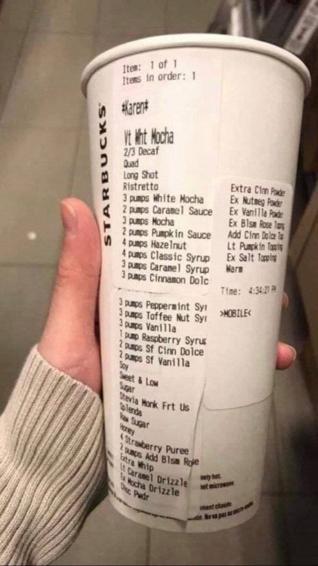 Pic of someone holding a Starbucks cup with a bunch of absurd instructions on it