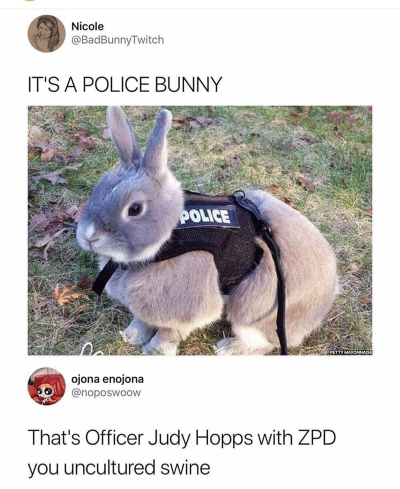 Easter meme of a bunny that is wearing a police uniform
