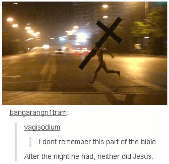 Easter meme of a man running naked with a huge cross