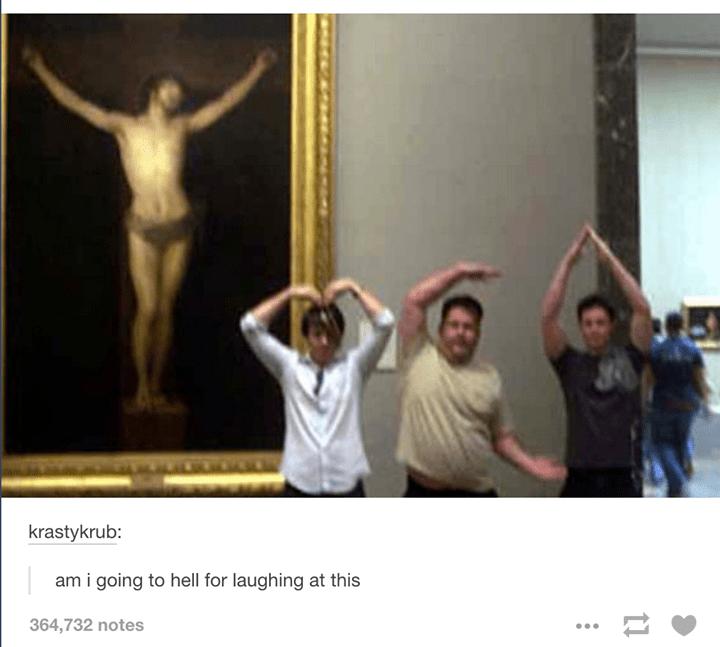 Easter meme of men copying jesus's pose