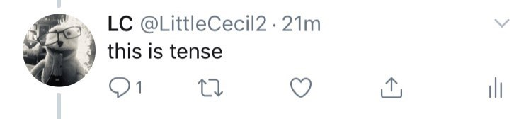 "Tweet that reads, ""This is tense"""