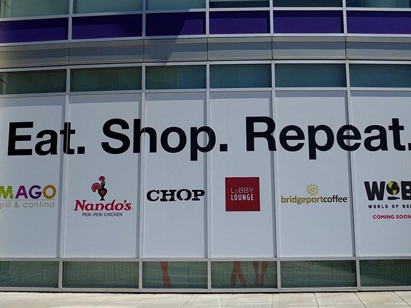 Text - Eat. Shop. Repeat. WO MAGO LOBBY LOUNGE CHOP bridgeportcoffee Nando's grill&cantina WORLD OF BEI PERI-PERI CHICKEN COMING SOON