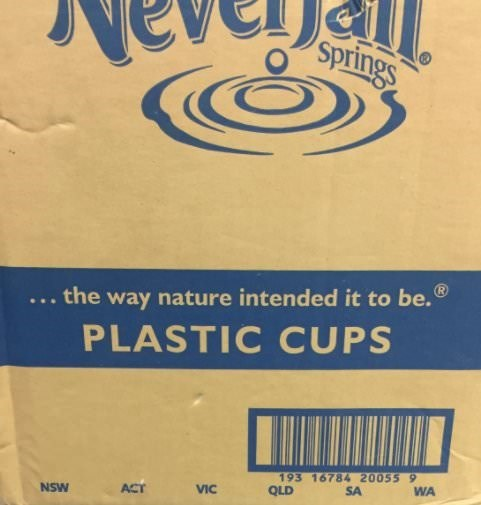 Text - Springs nature intended it to be. the way PLASTIC CUPS 193 16784 20055 9 SA WA QLD VIC ACT NSW