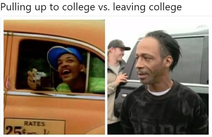 dank memes - Facial expression - Pulling up to college vs. leaving college RATES 25