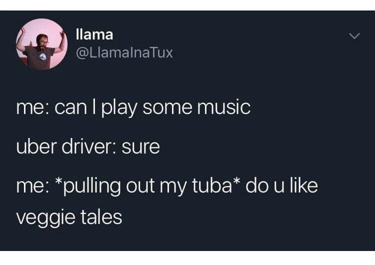 dank memes - Text - llama @LlamalnaTux me: can I play some music uber driver: sure me: *pulling out my tuba* do u like veggie tales