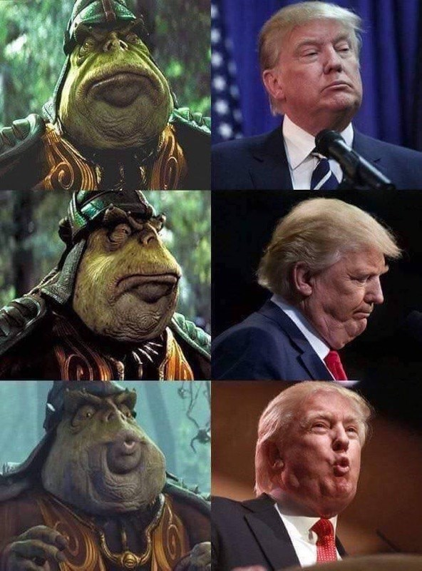 dank memes - Facial expression of trump compared to Boss Nass