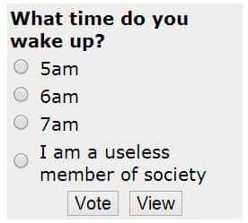 dank memes - Text - What time do you wake up? 5am 6am 7am I am a useless member of society Vote View