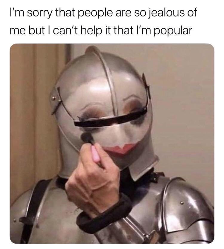 random meme of a knight wearing makeup