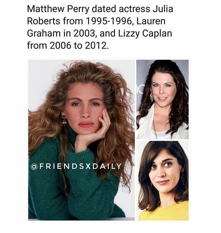 random meme about the women that Matthew Perry dated